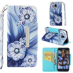 Button Flower Big Metal Buckle PU Leather Wallet Phone Case for Samsung Galaxy J3 (2018)