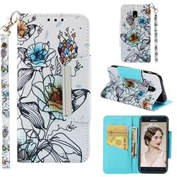 Fotus Flower Big Metal Buckle PU Leather Wallet Phone Case for Samsung Galaxy J3 (2018)