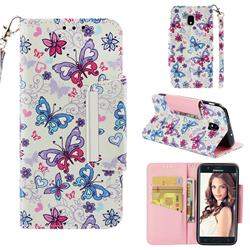 Colored Butterfly Big Metal Buckle PU Leather Wallet Phone Case for Samsung Galaxy J3 (2018)