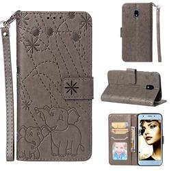 Embossing Fireworks Elephant Leather Wallet Case for Samsung Galaxy J3 (2018) - Gray