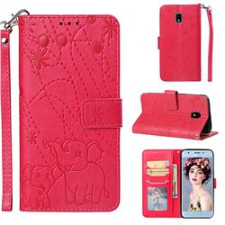 Embossing Fireworks Elephant Leather Wallet Case for Samsung Galaxy J3 (2018) - Red