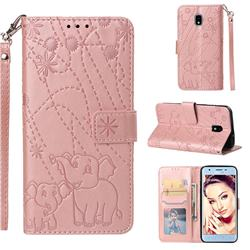 Embossing Fireworks Elephant Leather Wallet Case for Samsung Galaxy J3 (2018) - Rose Gold