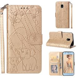Embossing Fireworks Elephant Leather Wallet Case for Samsung Galaxy J3 (2018) - Golden