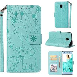 Embossing Fireworks Elephant Leather Wallet Case for Samsung Galaxy J3 (2018) - Green