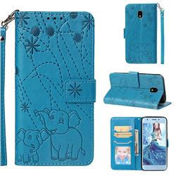 Embossing Fireworks Elephant Leather Wallet Case for Samsung Galaxy J3 (2018) - Blue