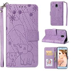 Embossing Fireworks Elephant Leather Wallet Case for Samsung Galaxy J3 (2018) - Purple