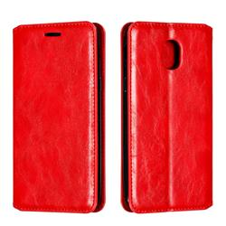 Retro Slim Magnetic Crazy Horse PU Leather Wallet Case for Samsung Galaxy J3 (2018) - Red