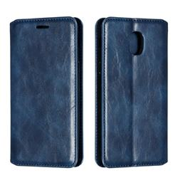 Retro Slim Magnetic Crazy Horse PU Leather Wallet Case for Samsung Galaxy J3 (2018) - Blue