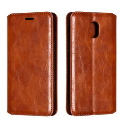 Retro Slim Magnetic Crazy Horse PU Leather Wallet Case for Samsung Galaxy J3 (2018) - Brown