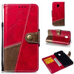 Retro Magnetic Stitching Wallet Flip Cover for Samsung Galaxy J3 (2018) - Rose Red