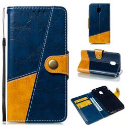 Retro Magnetic Stitching Wallet Flip Cover for Samsung Galaxy J3 (2018) - Blue