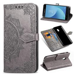 Embossing Imprint Mandala Flower Leather Wallet Case for Samsung Galaxy J3 (2018) - Gray