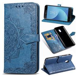 Embossing Imprint Mandala Flower Leather Wallet Case for Samsung Galaxy J3 (2018) - Blue