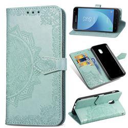 Embossing Imprint Mandala Flower Leather Wallet Case for Samsung Galaxy J3 (2018) - Green