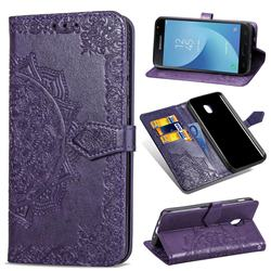 Embossing Imprint Mandala Flower Leather Wallet Case for Samsung Galaxy J3 (2018) - Purple
