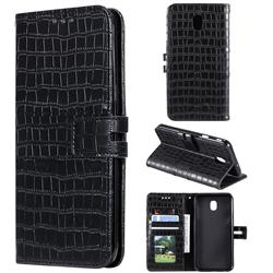 Luxury Crocodile Magnetic Leather Wallet Phone Case for Samsung Galaxy J3 (2018) - Black
