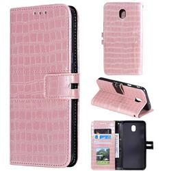 Luxury Crocodile Magnetic Leather Wallet Phone Case for Samsung Galaxy J3 (2018) - Rose Gold