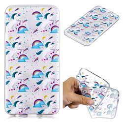 Rainbow Running Unicorn Super Clear Soft TPU Back Cover for Samsung Galaxy J4 (2018) SM-J400F