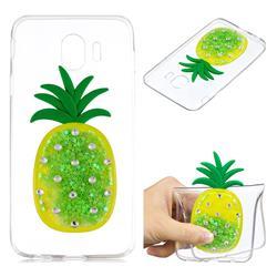 Green Pineapple Liquid Quicksand Soft 3D Cartoon Case for Samsung Galaxy J4 (2018) SM-J400F