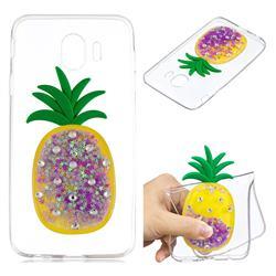 Purple Pineapple Liquid Quicksand Soft 3D Cartoon Case for Samsung Galaxy J4 (2018) SM-J400F