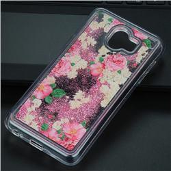 Rose Flower Glassy Glitter Quicksand Dynamic Liquid Soft Phone Case for Samsung Galaxy J4 (2018) SM-J400F