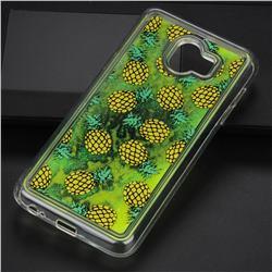 Pineapple Glassy Glitter Quicksand Dynamic Liquid Soft Phone Case for Samsung Galaxy J4 (2018) SM-J400F