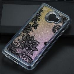 Diagonal Lace Glassy Glitter Quicksand Dynamic Liquid Soft Phone Case for Samsung Galaxy J4 (2018) SM-J400F