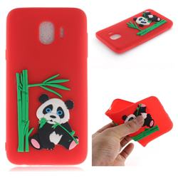 Panda Eating Bamboo Soft 3D Silicone Case for Samsung Galaxy J4 (2018) SM-J400F - Red