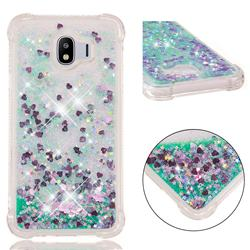 Dynamic Liquid Glitter Sand Quicksand TPU Case for Samsung Galaxy J4 (2018) SM-J400F - Green Love Heart