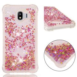 Dynamic Liquid Glitter Sand Quicksand TPU Case for Samsung Galaxy J4 (2018) SM-J400F - Rose Gold Love Heart