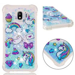 Fashion Unicorn Dynamic Liquid Glitter Sand Quicksand Star TPU Case for Samsung Galaxy J4 (2018) SM-J400F