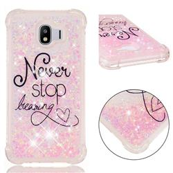 Never Stop Dreaming Dynamic Liquid Glitter Sand Quicksand Star TPU Case for Samsung Galaxy J4 (2018) SM-J400F