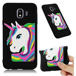Rainbow Unicorn Soft 3D Silicone Case for Samsung Galaxy J4 (2018) SM-J400F - Black