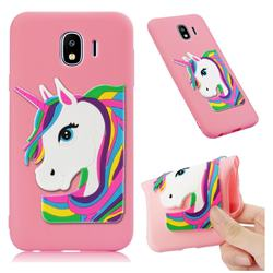 Rainbow Unicorn Soft 3D Silicone Case for Samsung Galaxy J4 (2018) SM-J400F - Pink