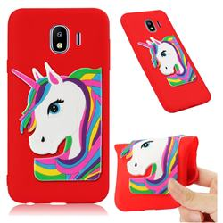 Rainbow Unicorn Soft 3D Silicone Case for Samsung Galaxy J4 (2018) SM-J400F - Red