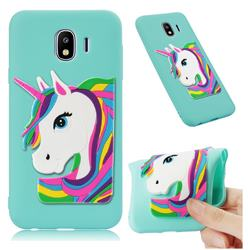 Rainbow Unicorn Soft 3D Silicone Case for Samsung Galaxy J4 (2018) SM-J400F - Sky Blue