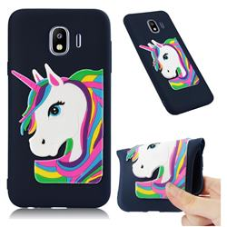 Rainbow Unicorn Soft 3D Silicone Case for Samsung Galaxy J4 (2018) SM-J400F - Navy
