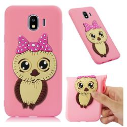 Bowknot Girl Owl Soft 3D Silicone Case for Samsung Galaxy J4 (2018) SM-J400F - Pink
