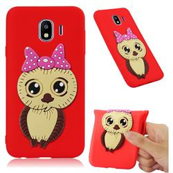 Bowknot Girl Owl Soft 3D Silicone Case for Samsung Galaxy J4 (2018) SM-J400F - Red