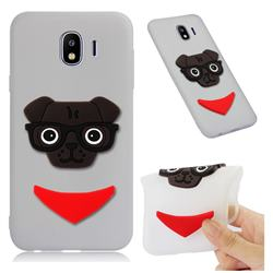 Glasses Dog Soft 3D Silicone Case for Samsung Galaxy J4 (2018) SM-J400F - Translucent White