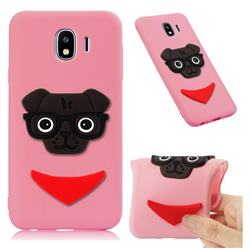 Glasses Dog Soft 3D Silicone Case for Samsung Galaxy J4 (2018) SM-J400F - Pink