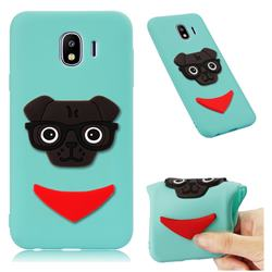 Glasses Dog Soft 3D Silicone Case for Samsung Galaxy J4 (2018) SM-J400F - Sky Blue