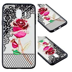 Rose Lace Diamond Flower Soft TPU Back Cover for Samsung Galaxy J4 (2018) SM-J400F