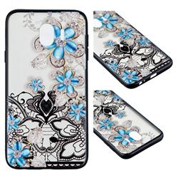 Lilac Lace Diamond Flower Soft TPU Back Cover for Samsung Galaxy J4 (2018) SM-J400F