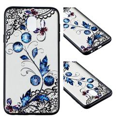 Butterfly Lace Diamond Flower Soft TPU Back Cover for Samsung Galaxy J4 (2018) SM-J400F