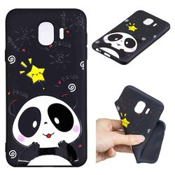 Cute Bear 3D Embossed Relief Black TPU Cell Phone Back Cover for Samsung Galaxy J4 (2018) SM-J400F