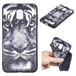 White Tiger 3D Embossed Relief Black TPU Cell Phone Back Cover for Samsung Galaxy J4 (2018) SM-J400F