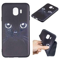 Bearded Feline 3D Embossed Relief Black TPU Cell Phone Back Cover for Samsung Galaxy J4 (2018) SM-J400F