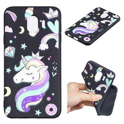 Candy Unicorn 3D Embossed Relief Black TPU Cell Phone Back Cover for Samsung Galaxy J4 (2018) SM-J400F