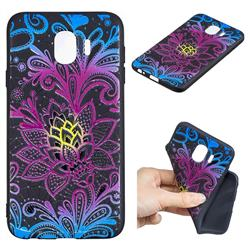 Colorful Lace 3D Embossed Relief Black TPU Cell Phone Back Cover for Samsung Galaxy J4 (2018) SM-J400F